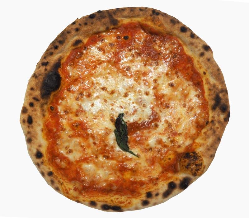alimento della pizza di margherita isolato sopra bianco immagine stock libera da diritti