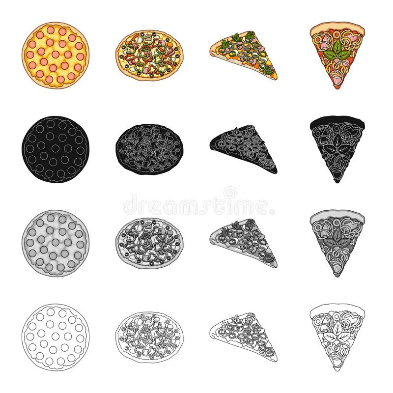 Alimento della pizza, ossequi e l'altra icona di web nello stile del fumetto Caffè, alimento, cena, icone nella raccolta dell'ins royalty illustrazione gratis