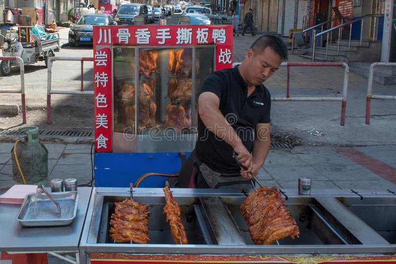 Alimento della via in Cina e la cottura  immagini stock libere da diritti
