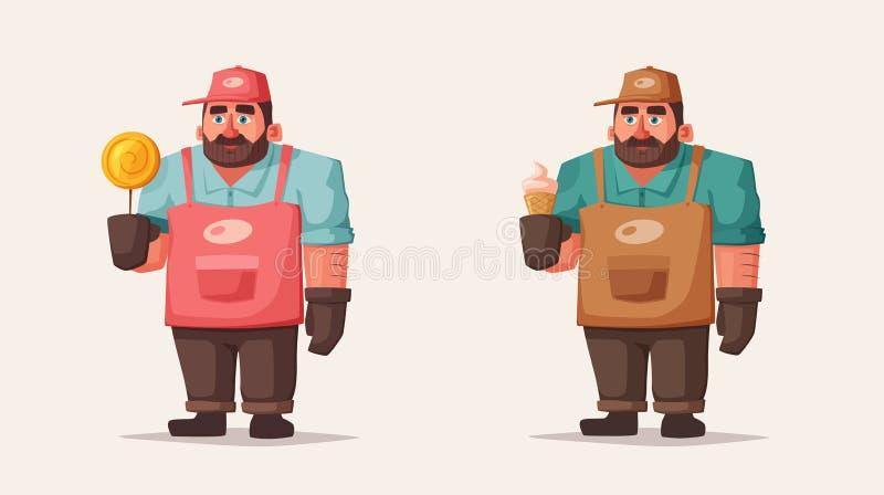 Alimento della via e venditore ambulante divertente delle bevande Illustrazione di vettore del fumetto Carattere del cuoco unico  illustrazione di stock