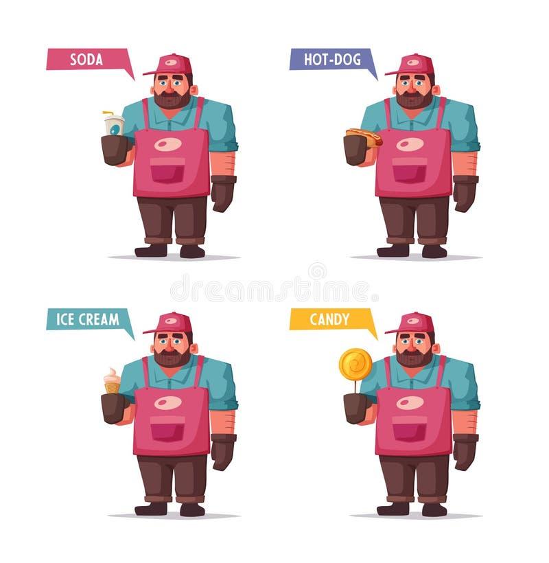 Alimento della via e venditore ambulante divertente delle bevande Illustrazione di vettore del fumetto Carattere del cuoco unico  royalty illustrazione gratis