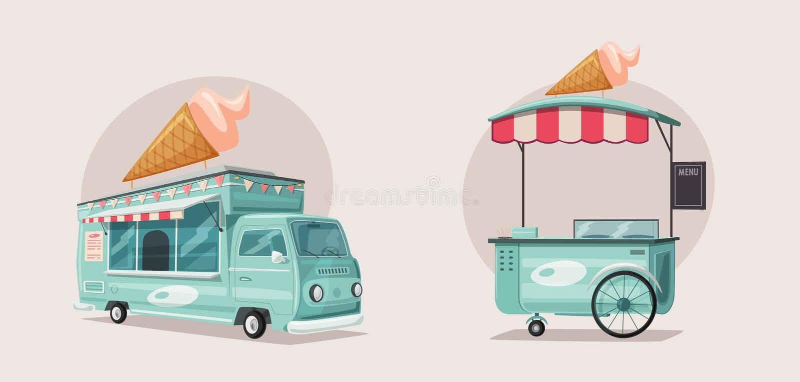 Alimento della via o camion del venditore del gelato Illustrazione di vettore del fumetto illustrazione vettoriale