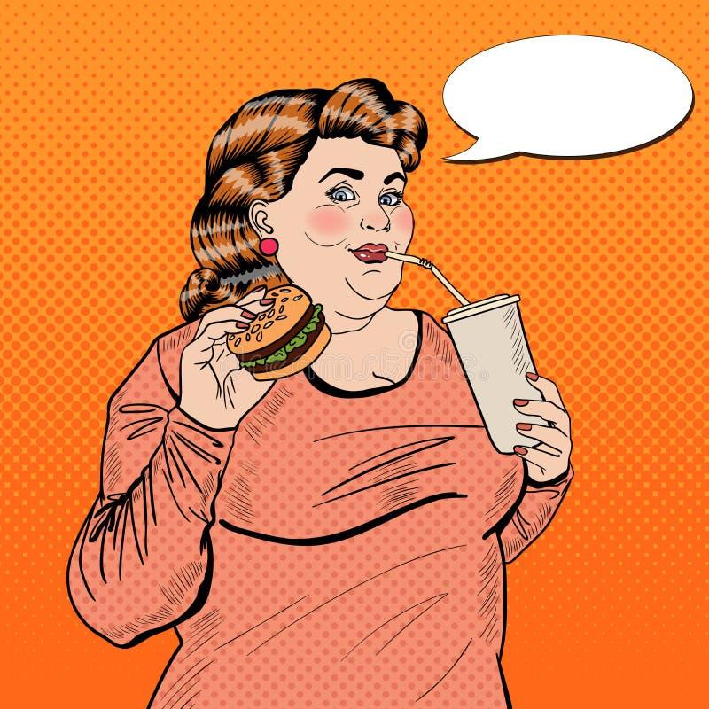 Alimento di Art Fat Woman Eating Fast di schiocco e soda bevente illustrazione vettoriale