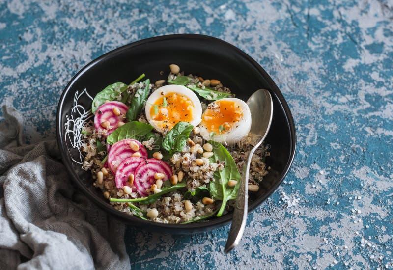 Alimento di dieta sana - insalata con la quinoa, gli spinaci, le barbabietole e l'uovo sodo immagine stock libera da diritti