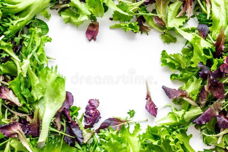 Alimento di forma fisica che cucina con il preparato verde e rosso dell'insalata sul copyspace bianco di vista superiore del fond immagine stock libera da diritti