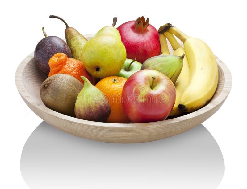 Alimento di legno della ciotola della frutta fotografia stock libera da diritti