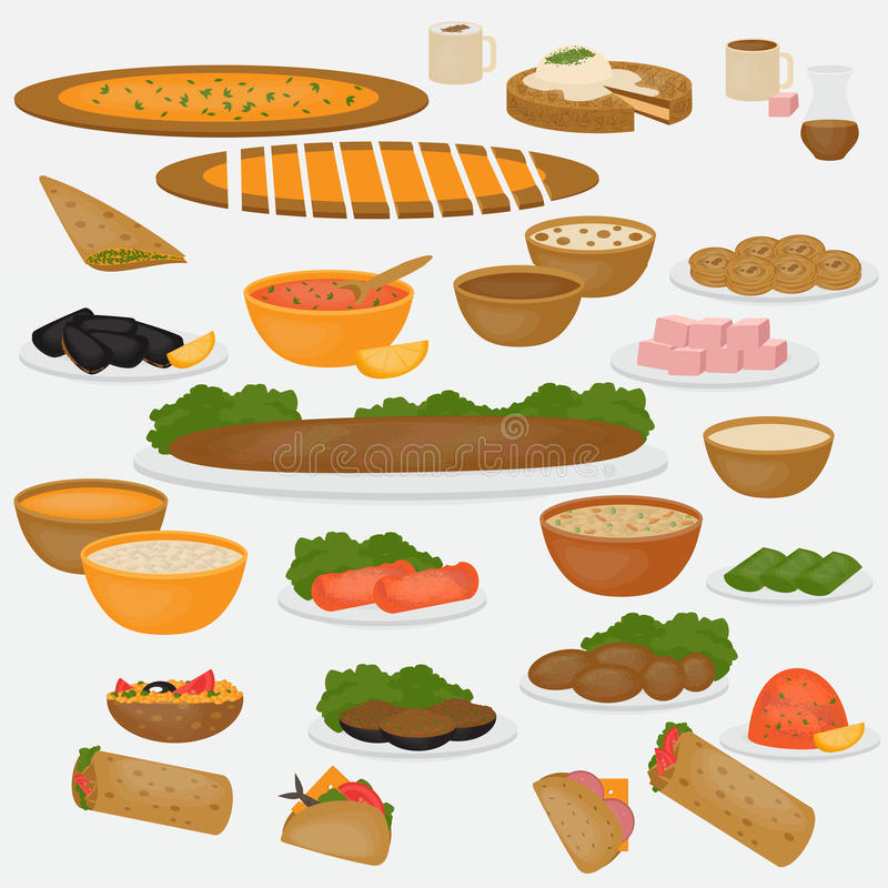 Alimento di Medio Oriente Cusine e bevande tradizionali su fondo bianco illustrazione vettoriale