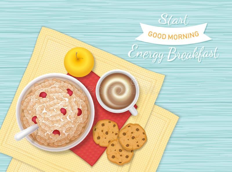 Alimento di prima colazione di energia, forno, bevanda, frutta Primo piano del porridge della farina d'avena con le bacche, bisco royalty illustrazione gratis