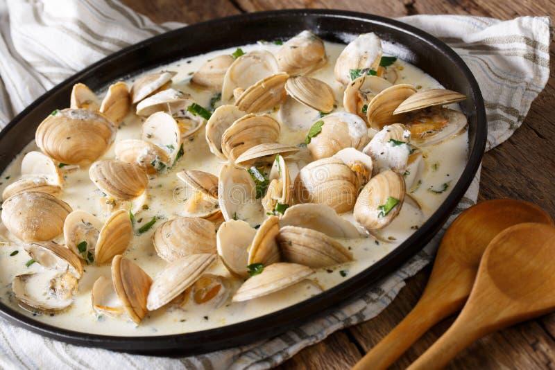 Alimento di specialità gastronomiche: le vongole hanno stufato in crema con aglio e verdi immagini stock