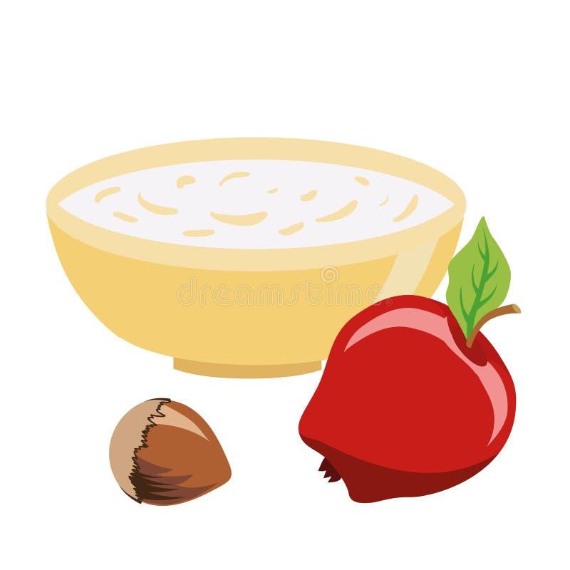 alimento dietético Alimento pelo tempo Lent Uma bacia de farinha de aveia Avelã e maçã Ilustração isolada do vetor ilustração royalty free