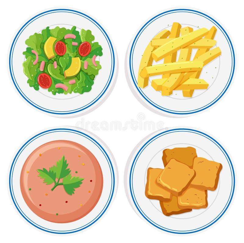 Alimento diferente nas placas ilustração do vetor