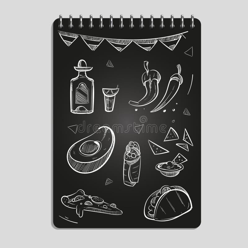 Alimento disegnato a mano e bevande messicani messi illustrazione di stock