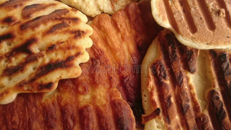 alimento do brinde do café da manhã das panquecas saboroso fotografia de stock