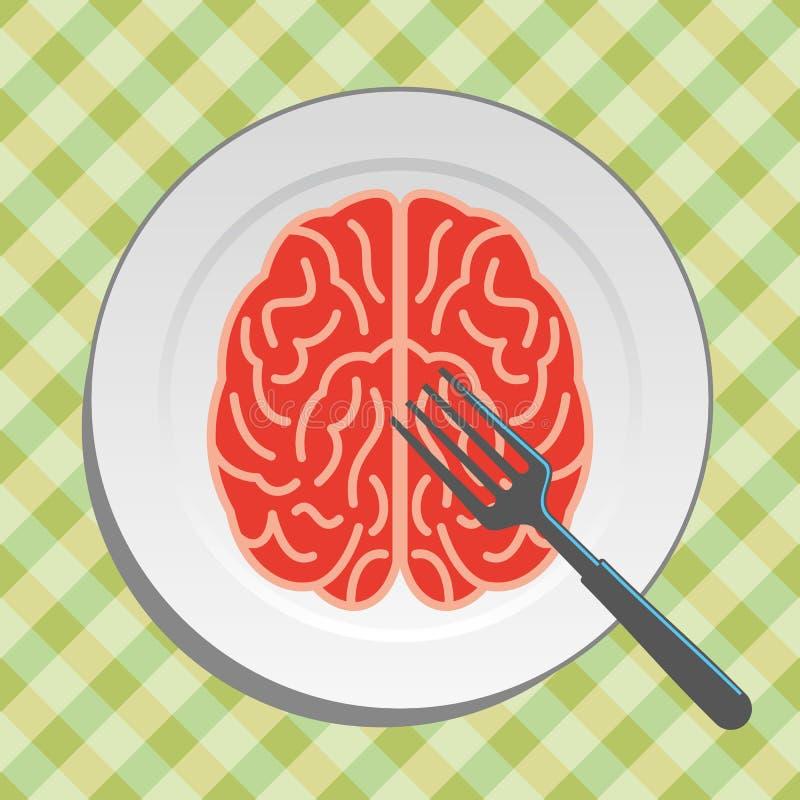 Alimento do cérebro na placa com forquilha e faca - ilustração stock