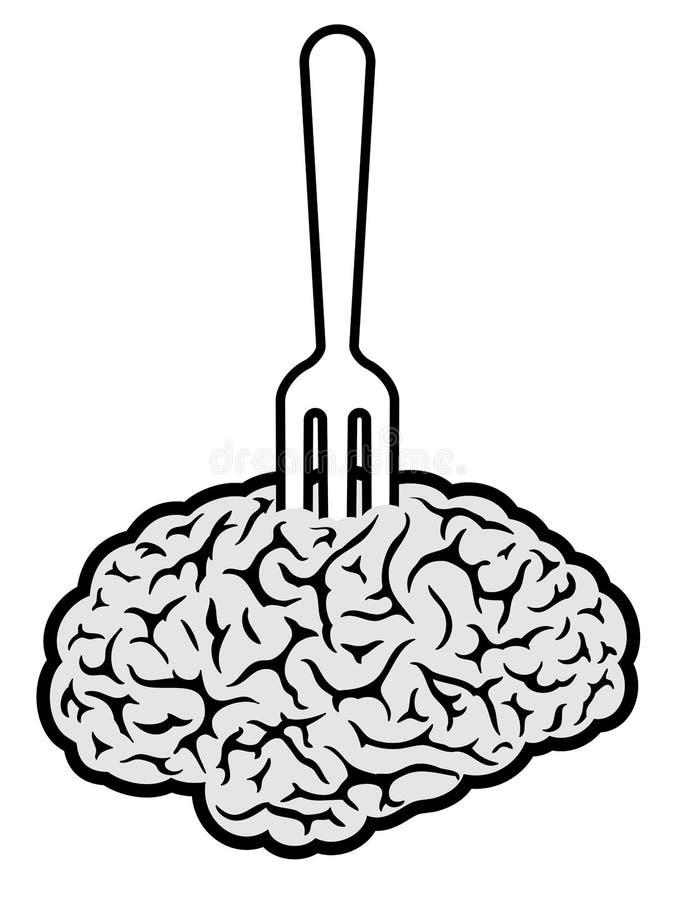 Alimento do cérebro perfurado na forquilha ilustração royalty free