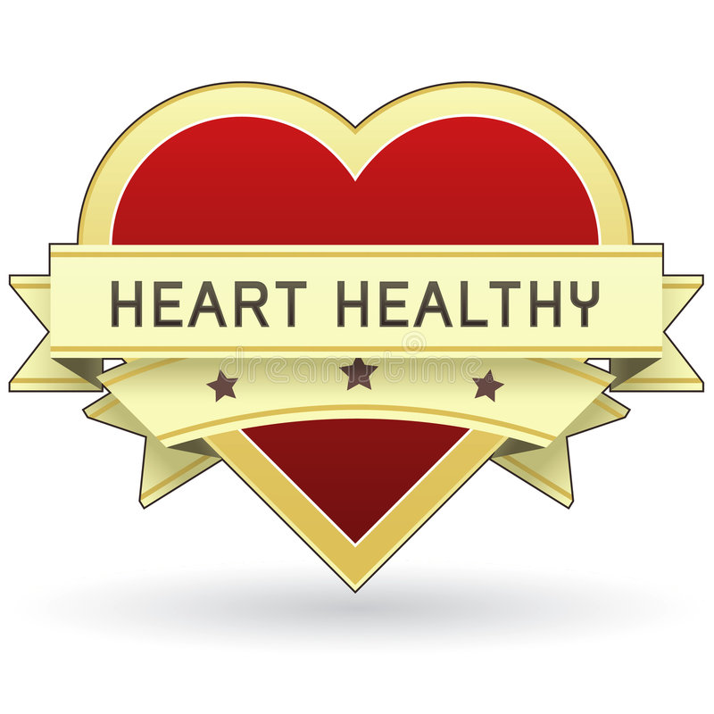Alimento do coração e etiqueta ou etiqueta saudável do produto ilustração stock