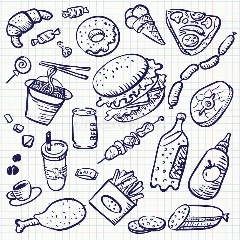 Alimento do Doodle ilustração do vetor