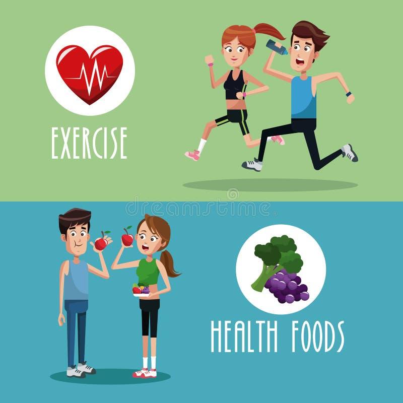alimento do exercício do folheto saudável ilustração stock