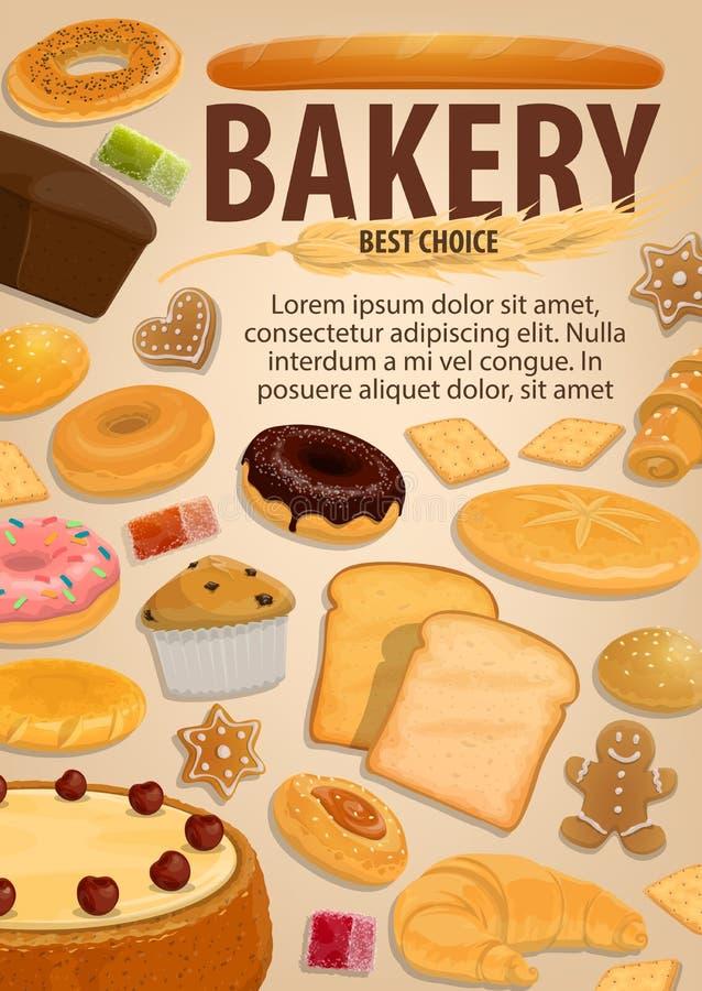 Alimento do pão e da pastelaria, padaria, sobremesas ilustração royalty free