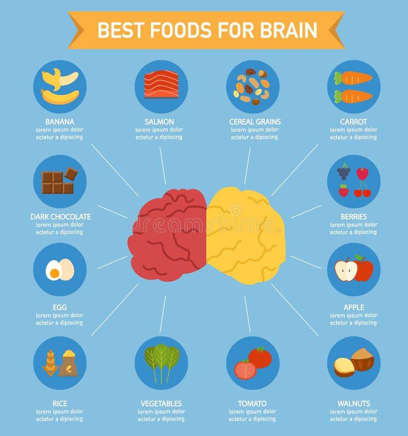 Alimento do poder de cérebro infographic ilustração do vetor