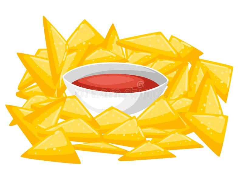 Alimento do prato de Chips With Traditional Mexican Cuisine dos Nachos da ilustração do vetor do menu do café ilustração do vetor