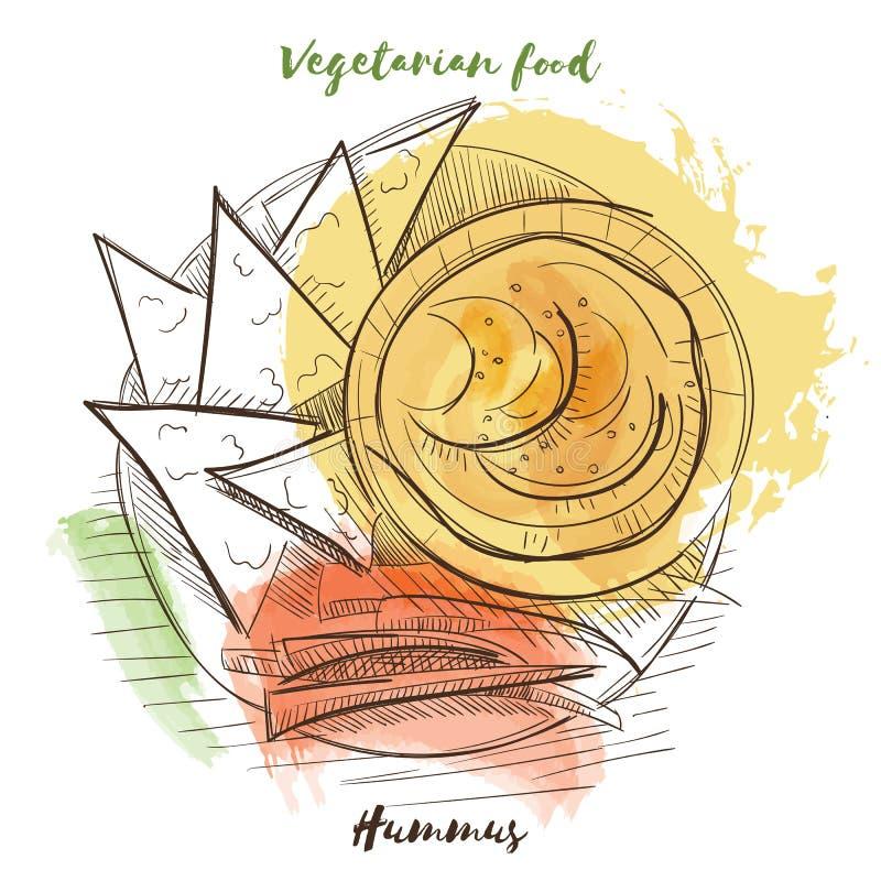 Alimento do vegetariano do esboço da aquarela do vetor Alimento de Eco ilustração do vetor