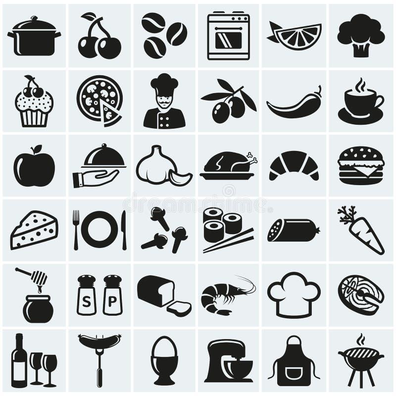 Alimento e ícones do cozimento Grupo do vetor ilustração stock