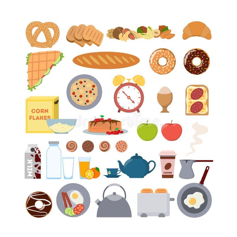 Alimento e artigos de café da manhã ilustração do vetor