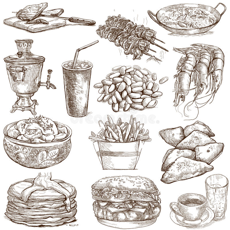 Alimento e bebidas ilustração stock