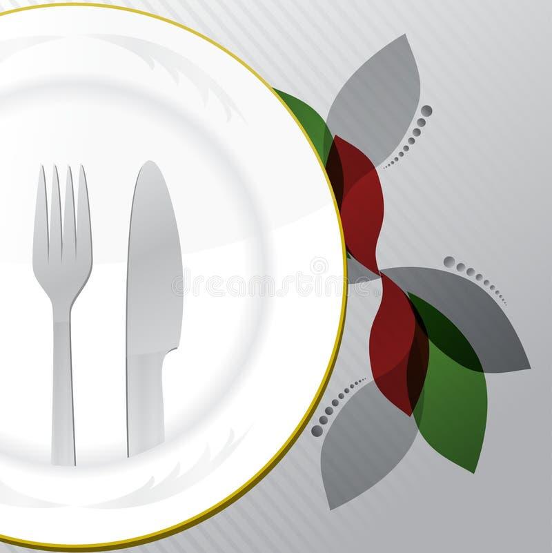 Alimento e bebidas do menu do restaurante ilustração do vetor