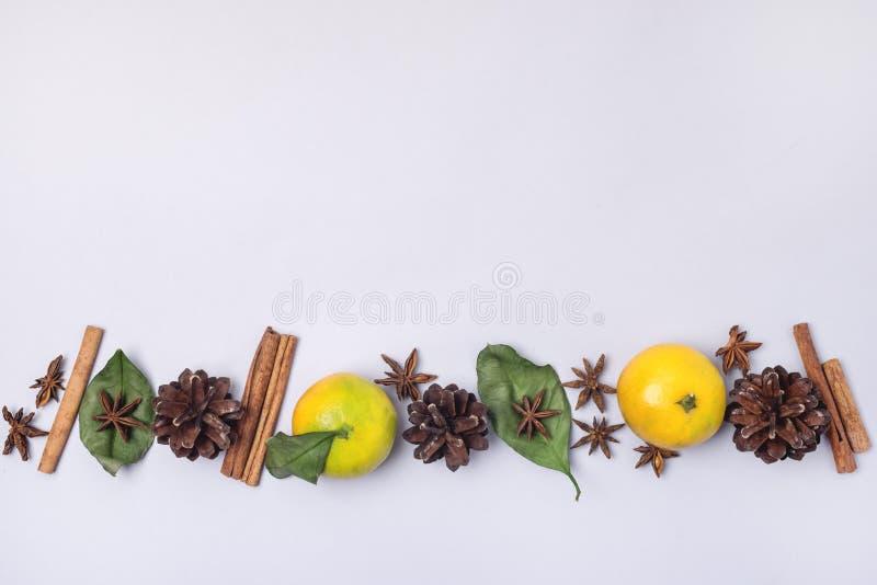 Alimento e bevanda decorazione di Natale di feste e stagionale di concetto con le spezie dei coni delle arance su uno spazio blu- fotografia stock