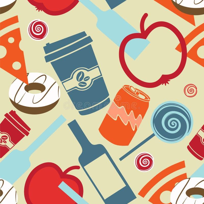 Alimento e liquore senza cuciture del fondo royalty illustrazione gratis