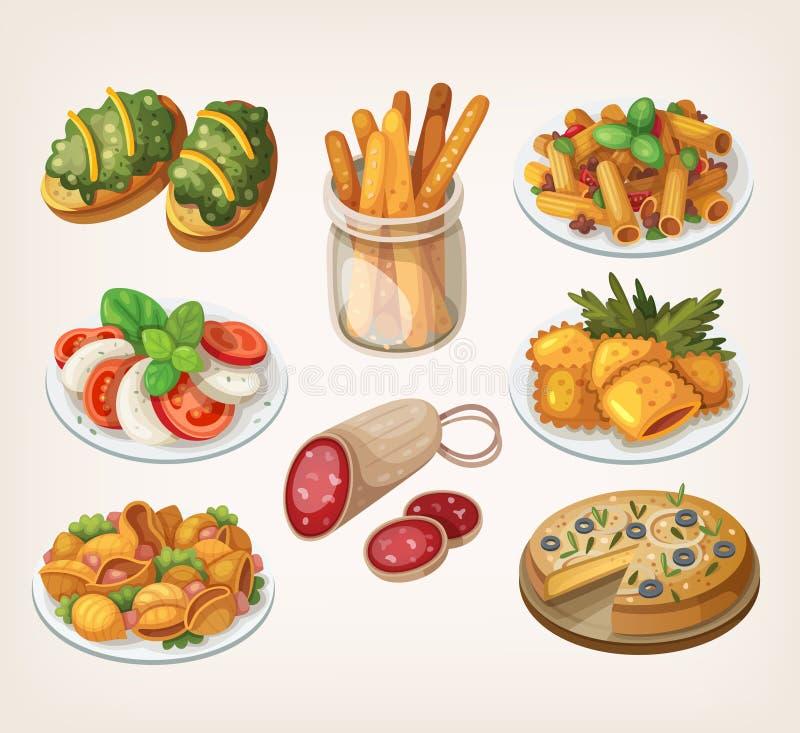 Alimento e refeições italianos ilustração do vetor