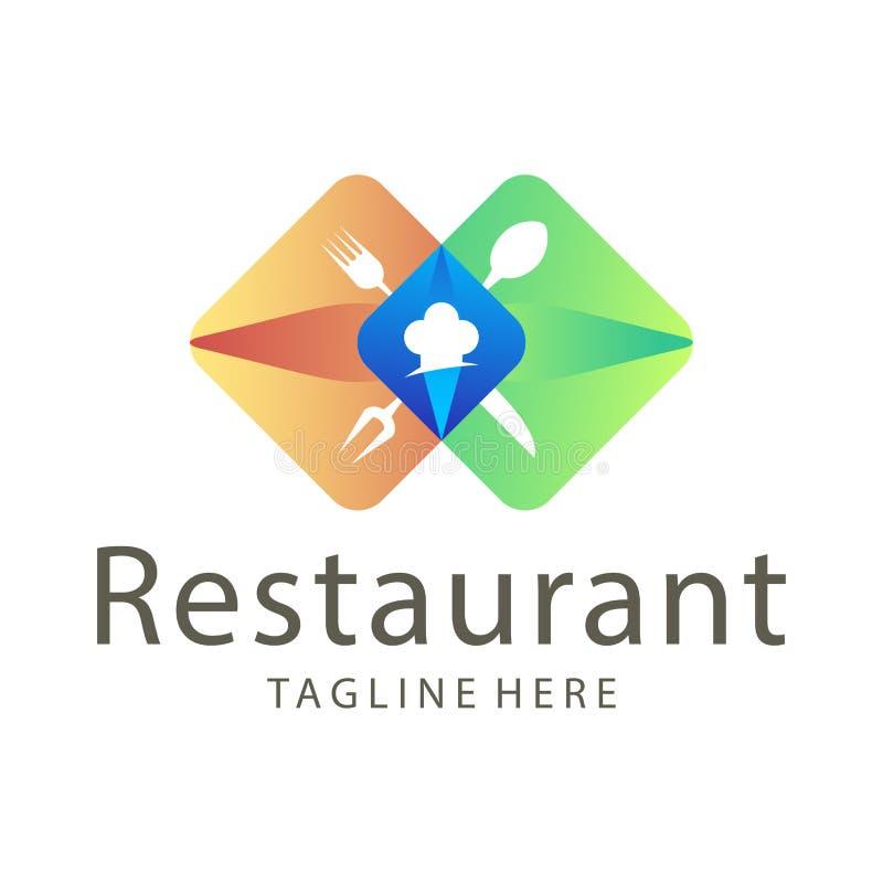 Alimento elegante del ristorante e progettazione di logo della bevanda illustrazione vettoriale