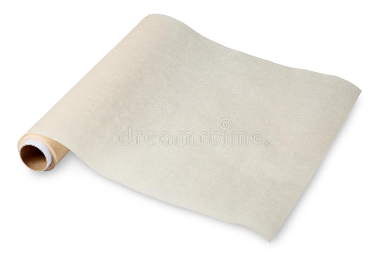 Alimento em um rolo torcido do pergaminho na luva, papel de cozimento. imagens de stock royalty free