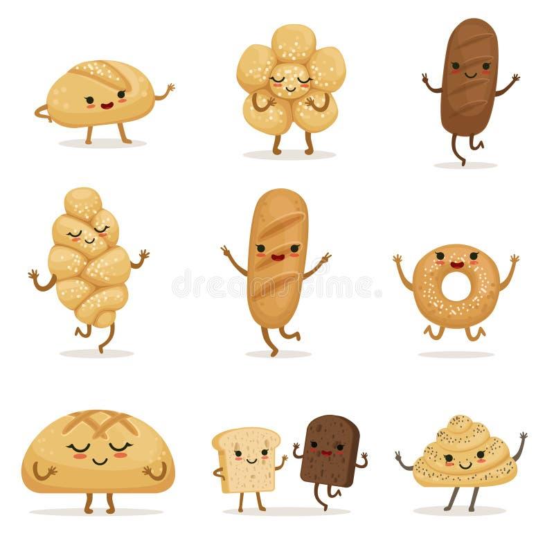 Alimento engraçado da padaria com emoções diferentes Caráteres do vetor no estilo dos desenhos animados ilustração stock