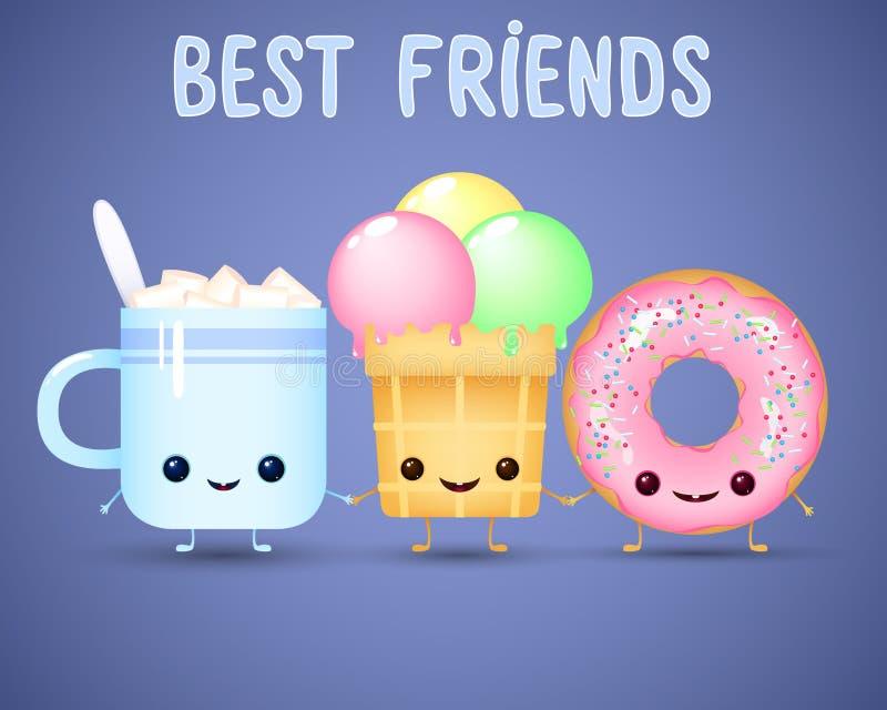 Alimento engraçado dos desenhos animados copo de café com marshmallow, gelado e filhós ilustração stock