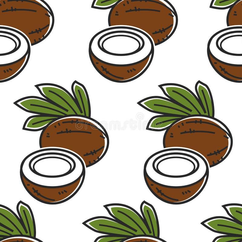 Alimento esotico del modello senza cuciture del dado della Tailandia della noce di cocco royalty illustrazione gratis