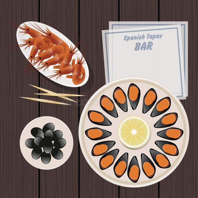 Alimento espanhol típico tapas Mexilhões, camarões, azeitonas ilustração stock