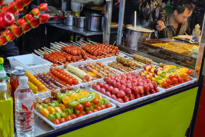 Alimento famoso chinês da rua do hulu de Tang foto de stock