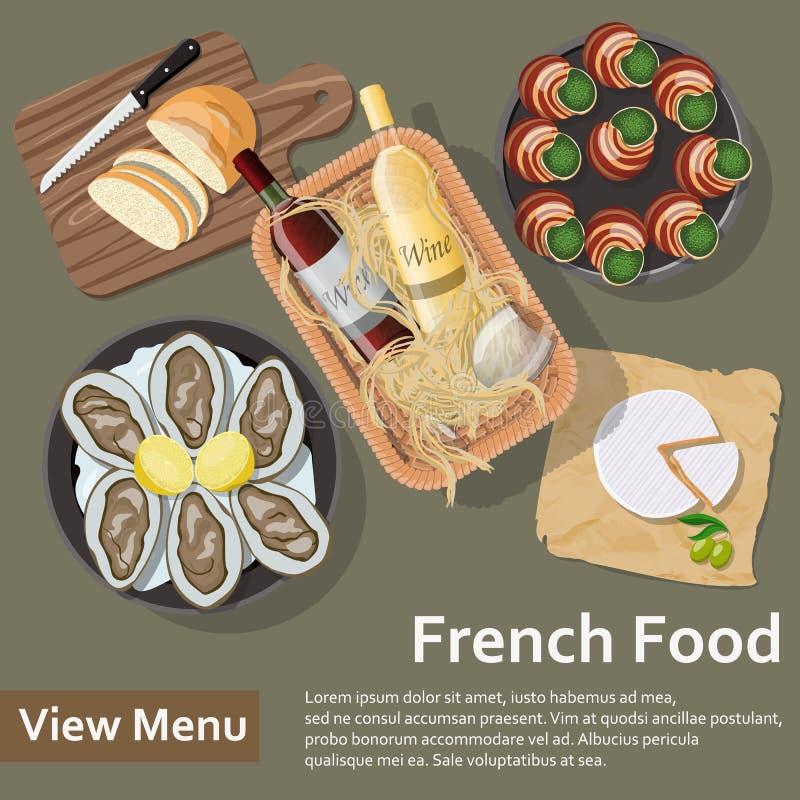 Alimento francés Ejemplo plano del estilo de la endecha ilustración del vector
