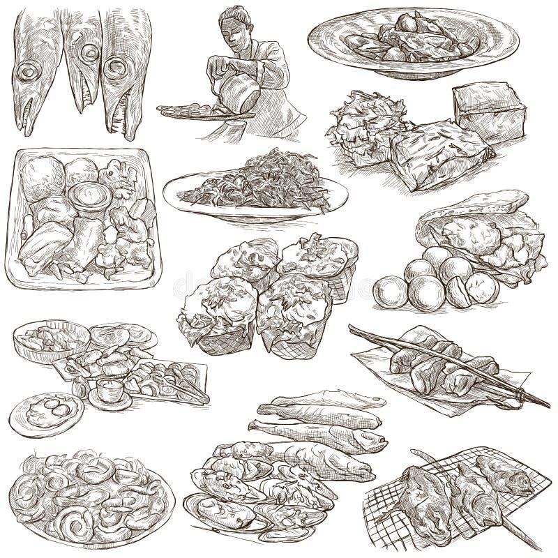 Alimento Freehands, colección dibujada mano Línea arte ilustración del vector