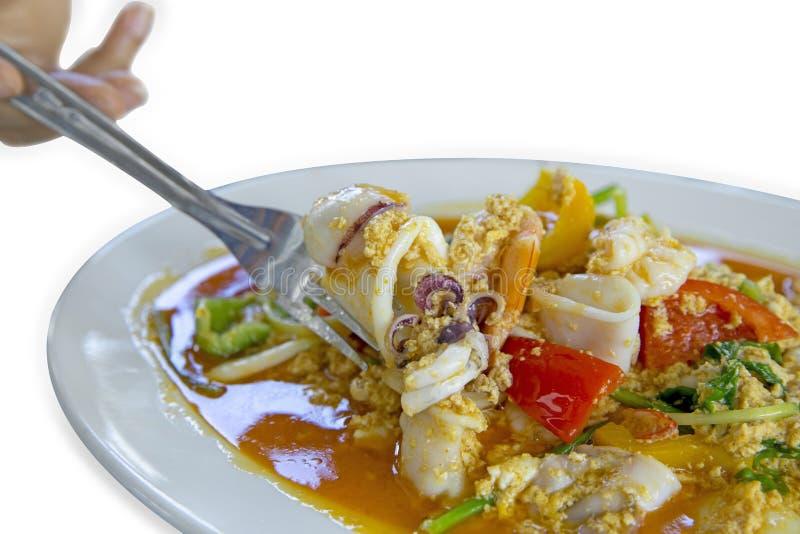 Alimento, gamberetto e calamaro tailandesi con curry, fuoco selettivo immagini stock libere da diritti