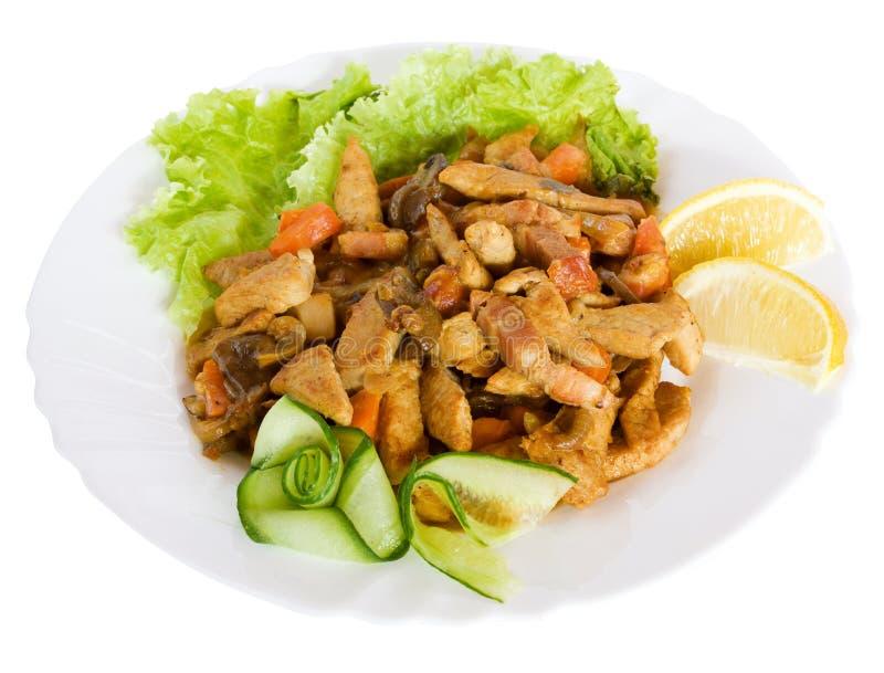 Alimento Gastronomico Con Insalata Fotografia Stock Libera da Diritti