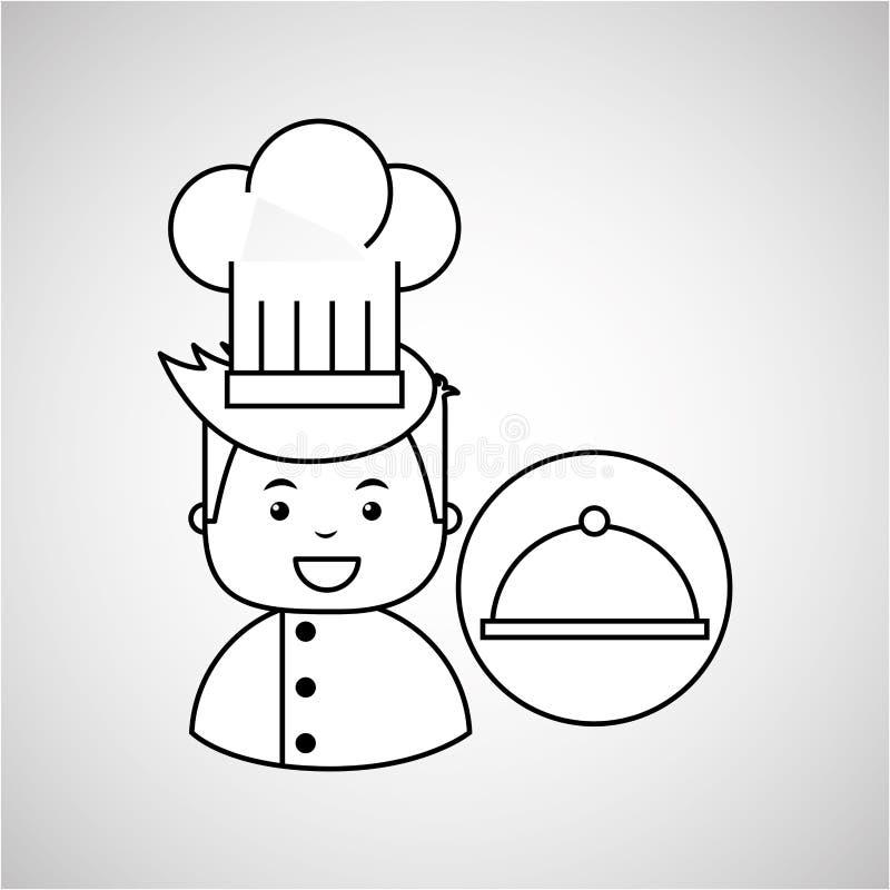 Alimento gastronomico del vassoio del cuoco unico del fumetto illustrazione vettoriale