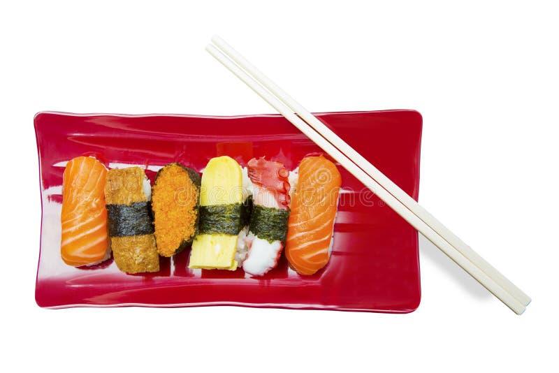 Alimento giapponese dei sushi su fondo bianco fotografie stock