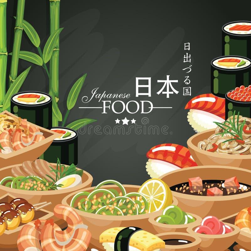 Alimento giapponese messo nello stile d'annata Cucina giapponese royalty illustrazione gratis