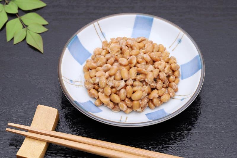Alimento giapponese, natto fermentato del fagiolo della soia immagini stock libere da diritti
