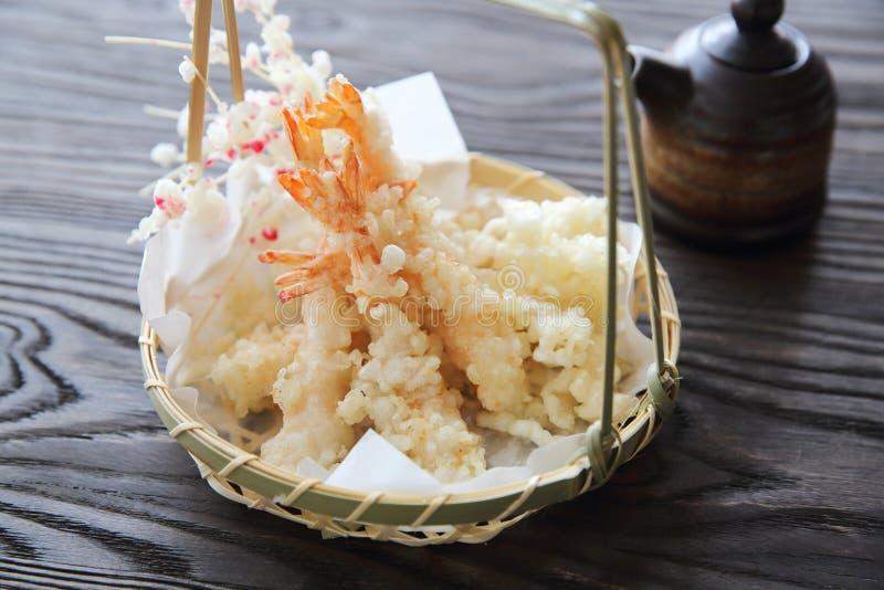 Alimento giapponese, tempura del gamberetto fotografia stock libera da diritti