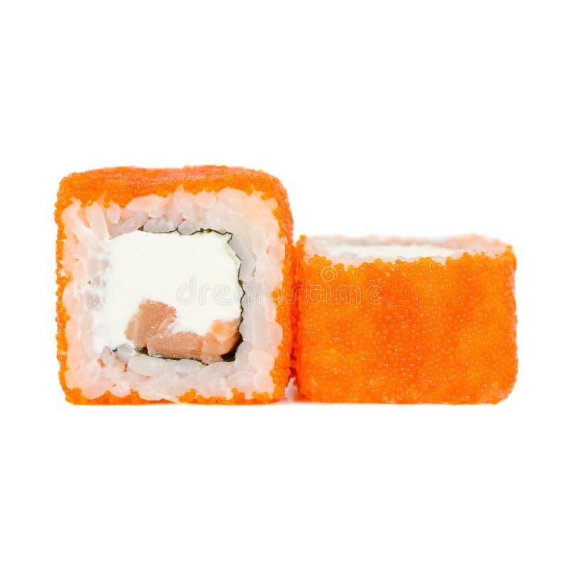Alimento giapponese tradizionale, rotolo con Philadelphia, nori, salmone e tobiko fotografie stock libere da diritti